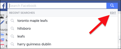 how to clear search history and automatic history in facebook