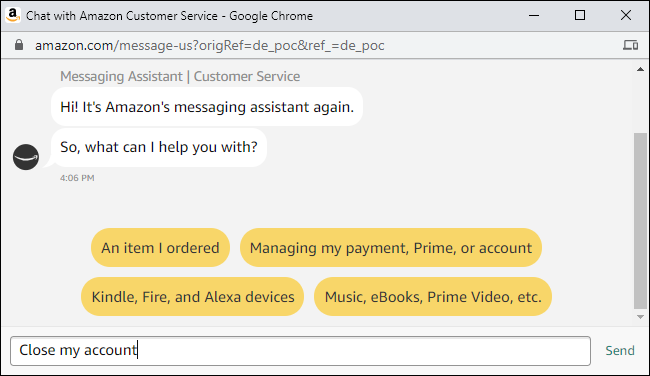 Asking Amazon customer service to close an account.