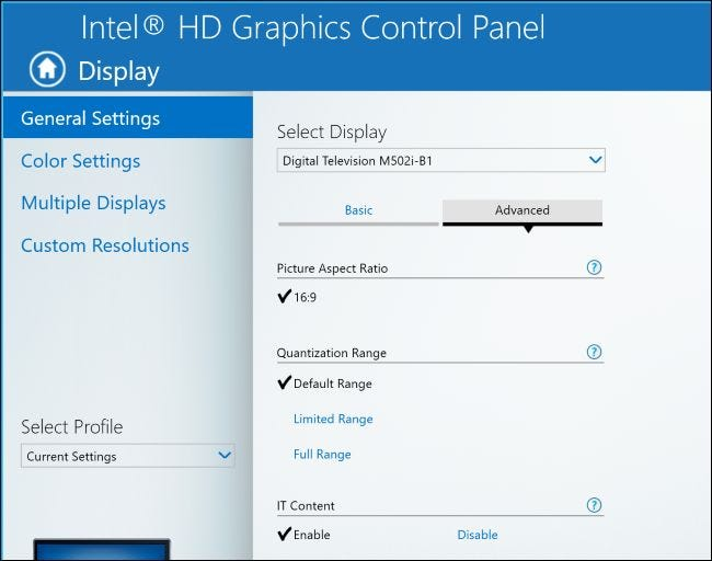 how to change scaling in intel hd graphics settings