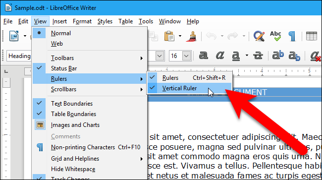 How to Show and Hide the Rulers in LibreOffice Writer