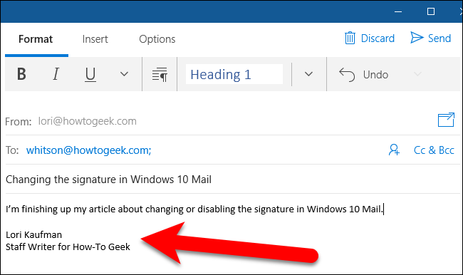 how to change isgnature on windows live mail