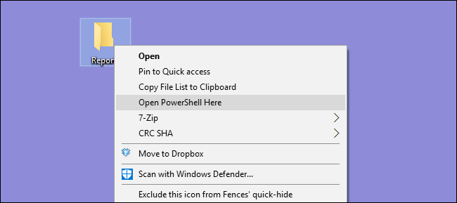 """The """"Open PowerShell Here"""" option in the context menu."""