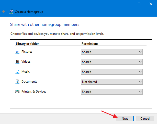 how to give permission to add files in a homegroup