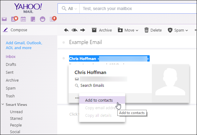"Mouse over a sender and click ""Add to contacts"" in Yahoo! Mail."