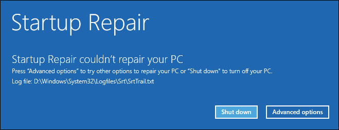 wbe_8 if windows cannot automatically repair