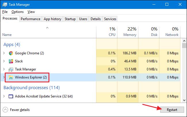 How to Restart Windows' Explorer exe (Along with the Taskbar