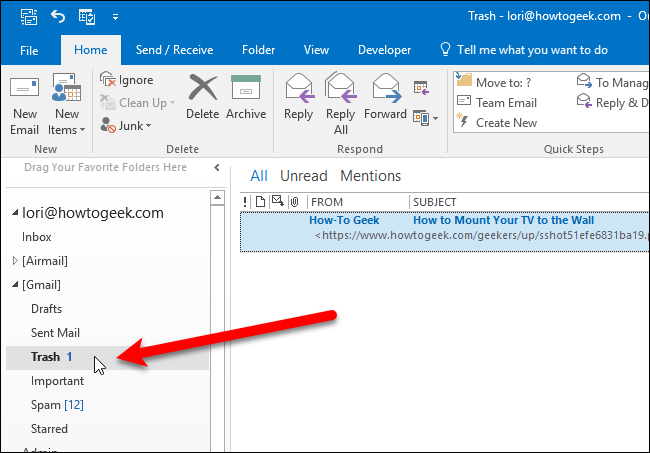 How to make a unread mail folder in outlook
