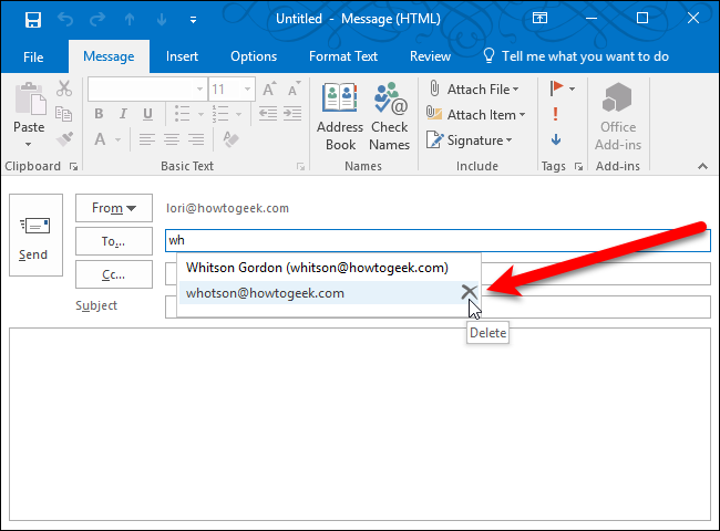 How To Delete An Email Address From The Auto Complete List