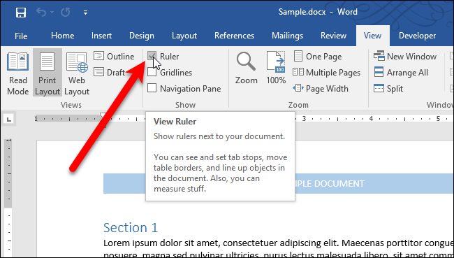 how to make the ruler appear in word 2016