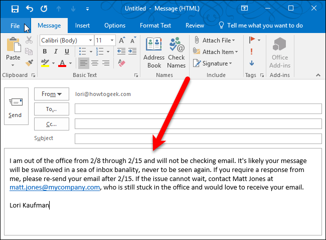 How to set up an out of office reply in outlook for windows for Out of office message outlook 2010 template