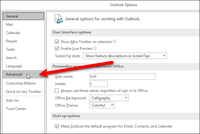 How to Change the Outlook Startup Folder