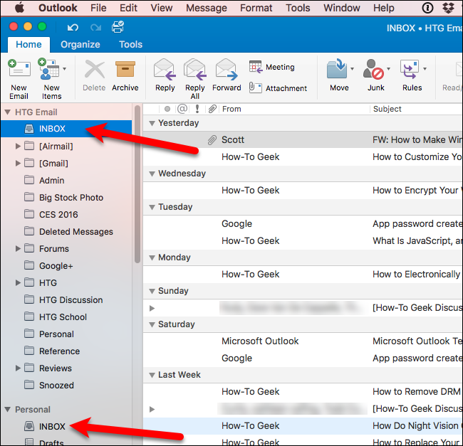 How to disable the unified inbox and grouped folders in for Acc email
