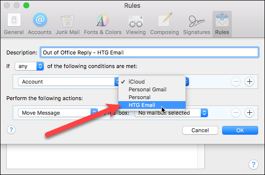 mac mail out of office rule