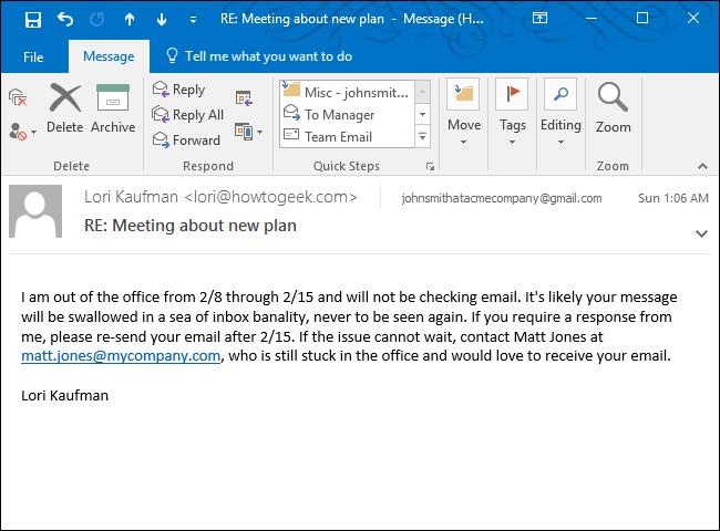 how to set up an out of office reply in outlook for windows With ooo mail template
