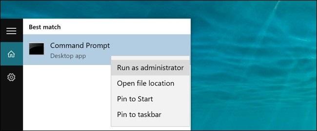 run as administrator windows 10 command line