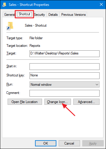 click change icon button on the shortcut tab