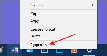 choose properties command on taskbar shortcut's context menu