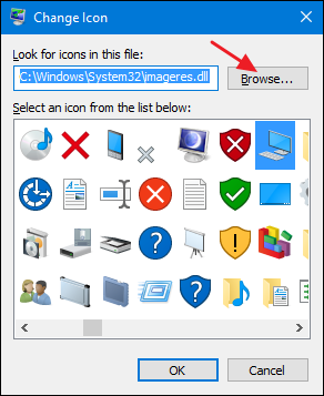 click a built-in icon or click the browse button