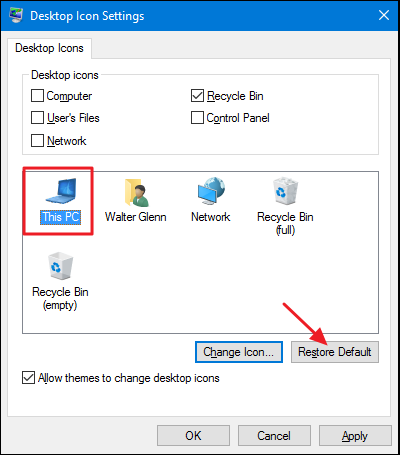 restoring the default desktop icons