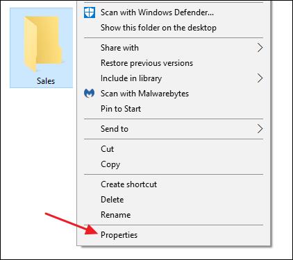select properties from a folder's context menu