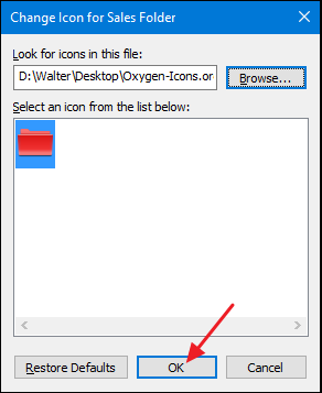 choose an icon and click OK