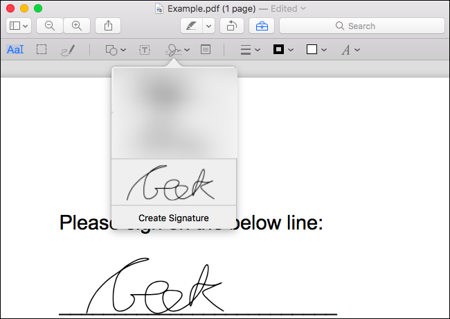 Click on the signature you created to insert it into the document