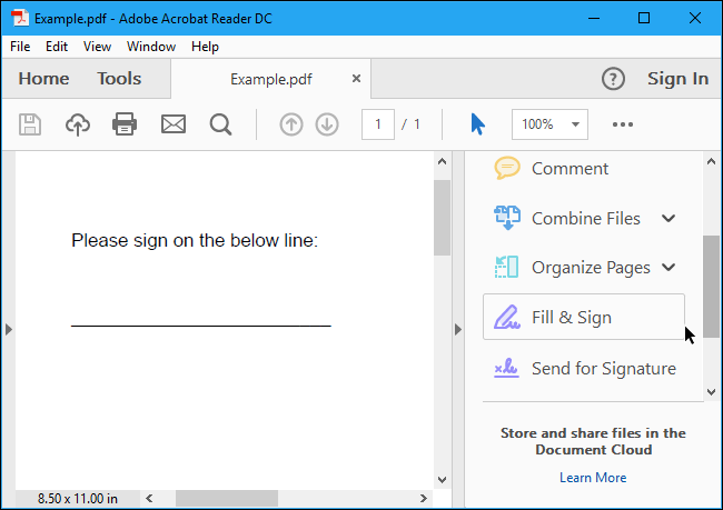 """Open Adobe Acrobat Reader and click the """"Fill & Sign"""" button"""