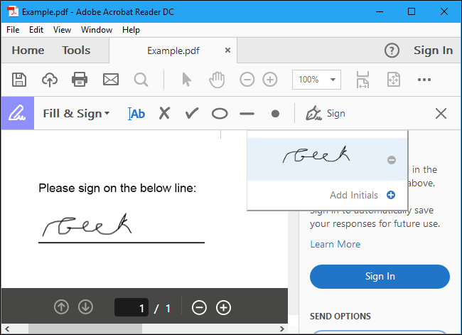 Save your signed PDF by clicking File > Save and choosing a location for the document