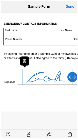Place your signature and resize it to fit the document