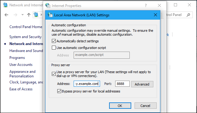 Internet proxy settings windows 7