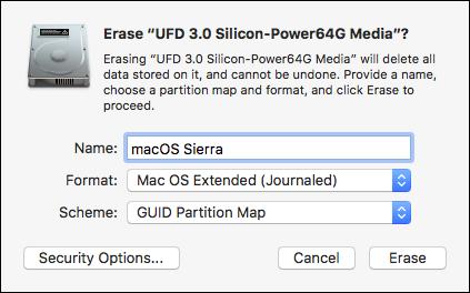 Paramètres Disk Utilities pour formatter disque dur USB