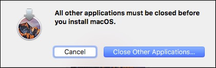Installation macOS Sierra, Close Other Applications…