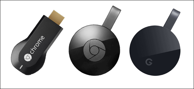 First-generation Chromecast, second-generation Chromecast, and Chromecast Ultra