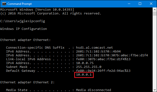 """Locate the Default Gateway by using the """"ipconfig"""" command in the command prompt"""