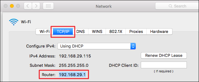 """Find your router's IP address under the """"TCP/IP"""" tab"""