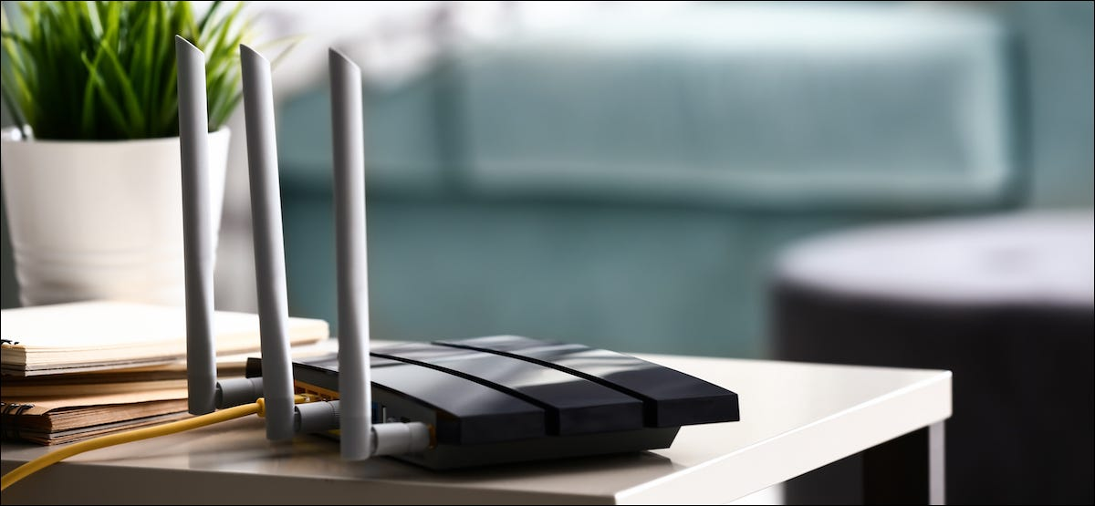 Wi-Fi router sitting on a table