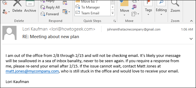 on leave email message sample
