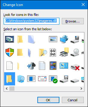 choose icon or click browse