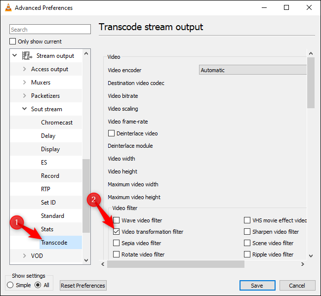 Enabling the Video transformation option under Transcode in VLC's advanced preferences.