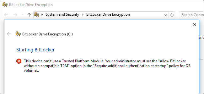 how to use bitlocker without a trusted platform module tpm