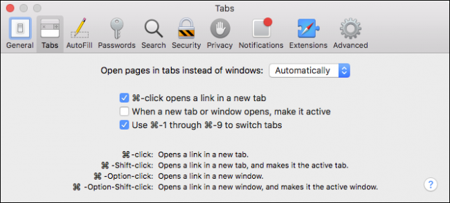 96cdf78e Disabling Command+Click will also disable any other associated shortcuts  and their modifiers, which are described at the bottom of the Tabs  preferences.