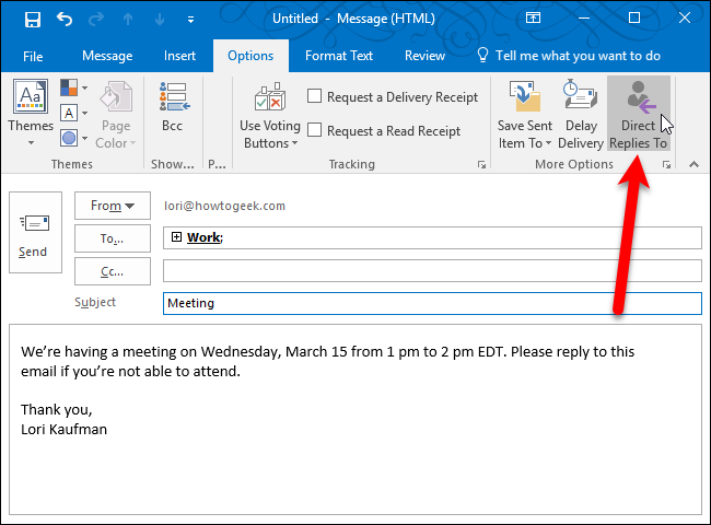 "How to Change the ""Reply To"" Address for Email Messages in Outlook"