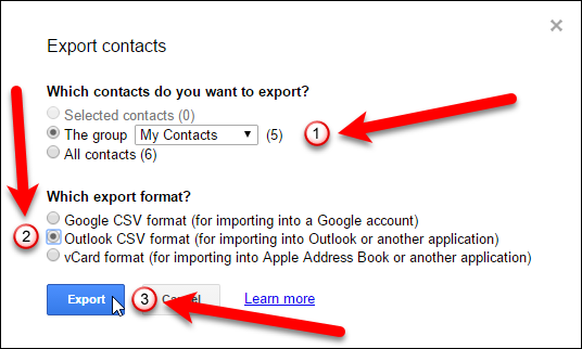 how to import and export contacts between outlook and gmail