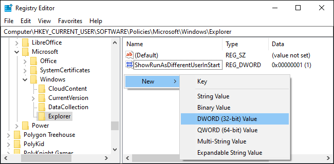 Creating a DWORD in the registry editor