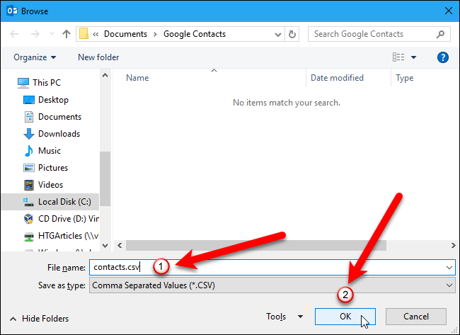 how to add gmail contacts to outlook