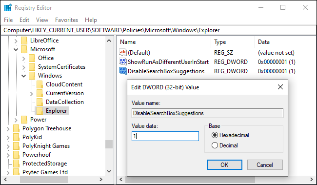Disabling Bing search in the Start menu via the registry