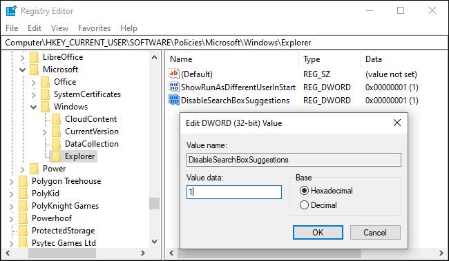 Disabling Bing search in the Start menu via the registry
