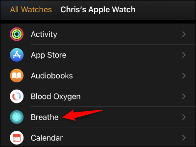"""Tap """"Breathe"""" in the list"""