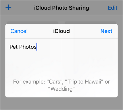 how to create shared icloud album