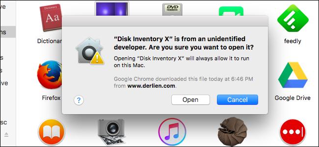 """The """"unidentified developer"""" warning from Gatekeeper on a Mac."""